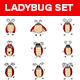 Cartoon Ladybug Sticker Set - GraphicRiver Item for Sale