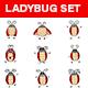 Cartoon Ladybug Sticker Set - GraphicRiver Item for Sale
