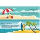 Summer Travel Horizontal Banners, Sandy Beach - GraphicRiver Item for Sale