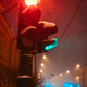 Traffic light on a snowy night - PhotoDune Item for Sale