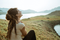 a woman enjoys fresh morning air - PhotoDune Item for Sale