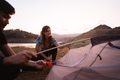 woman hiker prepare make a tent - PhotoDune Item for Sale
