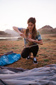portrait woman hiker prepare make a tent - PhotoDune Item for Sale