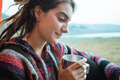 close up a woman drink a cup of coffee after wake up - PhotoDune Item for Sale