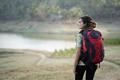 caucasian woman hiker alone enjoy the beauty of nature, back vie - PhotoDune Item for Sale