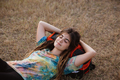 close up caucasian woman lay alone enjoy the beauty of nature - PhotoDune Item for Sale