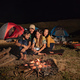close up group of friends camping,selfie around camp fire - PhotoDune Item for Sale