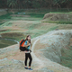 caucasian woman hiker alone enjoy the beauty of nature - PhotoDune Item for Sale