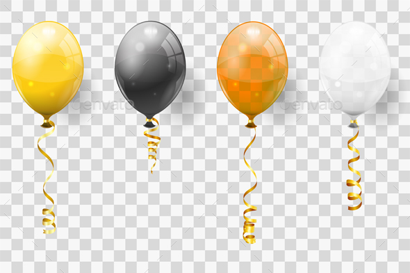 Golden Streamer and Balloons - Birthdays Seasons/Holidays