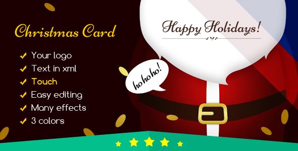 Christmas Card Santa Claus Open the Door