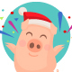 Christmas Pig Character - GraphicRiver Item for Sale