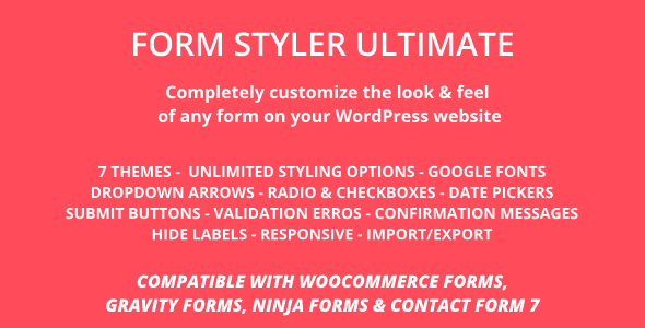 Form Styler Ultimate | Compatible with WooCommerce, Gravity Forms, Ninja Forms & CF7(Contact Form 7) - CodeCanyon Item for Sale