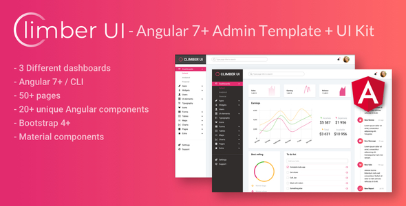 Climber UI - Angular 7+ admin template + UI Kit
