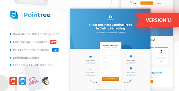Extraordinary Pointree - Business HTML Landing Page Template