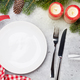 Free Download Christmas table setting with champagne and xmas gift Nulled