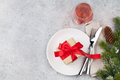 Christmas table setting with wine and xmas tree - PhotoDune Item for Sale