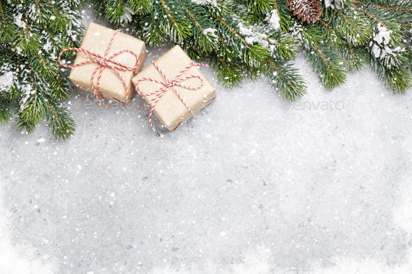 Christmas gift boxes and xmax fir tree - Stock Photo - Images