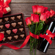 Free Download Red roses, wine bottle and chocolate box Nulled