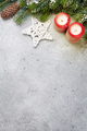 Christmas decor, candles and fir tree branch - PhotoDune Item for Sale