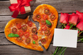 Heart shaped pizza with tomatoes and mozzarella - PhotoDune Item for Sale