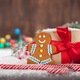 Christmas gift box, candy canes and gingerbread man - PhotoDune Item for Sale