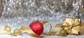 Christmas balls and gift, abstract bokeh lights background - PhotoDune Item for Sale