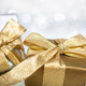 Christmas gift boxes on abstract bokeh lights and glitter background - PhotoDune Item for Sale