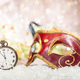 Free Download Carnival party. Minutes to midnight on an old watch, venetian mask, bokeh festive background Nulled