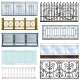 Balcony Railing Vector Vintage Metal Steel Fence - GraphicRiver Item for Sale
