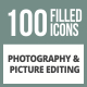 100 Photography & Picture Filled Round Corner Icons - GraphicRiver Item for Sale