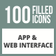 100 App & Web Interface Filled Round Corner Icons - GraphicRiver Item for Sale