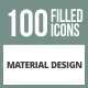 100 Material Design Filled Round Corner Icons - GraphicRiver Item for Sale