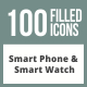 100 Smartphone & Smartwatch Filled Round Corner Icons - GraphicRiver Item for Sale