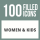 100 Women & Kids Filled Round Corner Icons - GraphicRiver Item for Sale