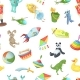 Free Download Vector Cartoon Children Toys Pattern or Background Nulled