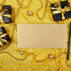 Black gift boxes with gold ribbon and  blank sheet paper - PhotoDune Item for Sale