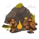 Ancient People Dancing Around Fire Near Rock - GraphicRiver Item for Sale