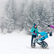 Free Download Mother with baby stroller enjoying winter in forest, family time Nulled