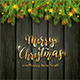 Christmas Lettering on Black Wooden Background with Holiday Decorations - GraphicRiver Item for Sale