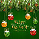 Christmas Lettering on Green Knitted Background with Balls and Snow - GraphicRiver Item for Sale