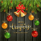 Christmas Lettering on Black Wooden Background with Golden Bells and Balls - GraphicRiver Item for Sale