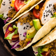 Mexican tacos with chicken meat, vegetables and fresh greens - PhotoDune Item for Sale