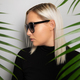 Free Download Profile of beautiful woman with sunglasses hiding behind tropical palm leaves Nulled