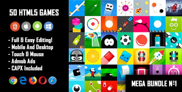 50 HTML5 Games + Mobile Version!!! MEGA BUNDLE №1 (Construct 2 / Construct 3 / CAPX) - CodeCanyon Item for Sale