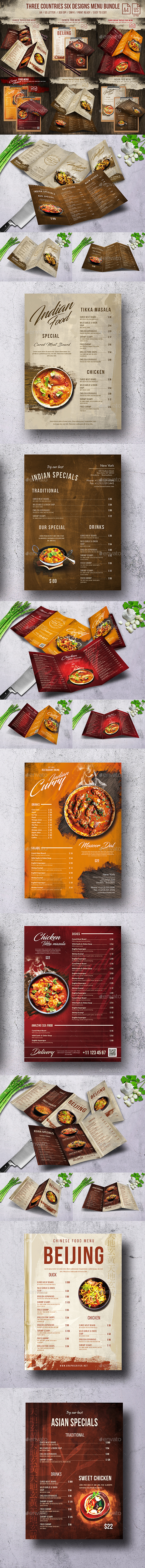 Three Countries - Six Designs - A4 - US Letter Bundle - Food Menus Print Templates