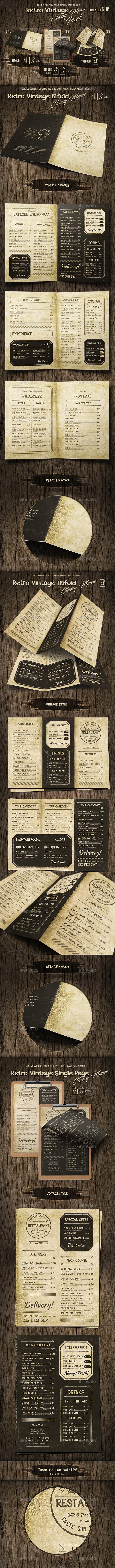 Retro Vintage Classy Menu Bundle - Food Menus Print Templates