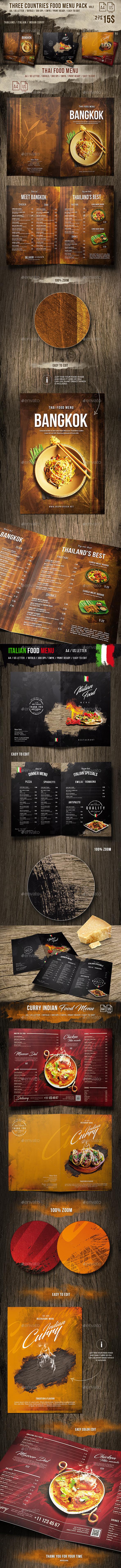 Three Countries Menu Pack vol-2 - A4 and US Letter - Food Menus Print Templates