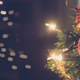 Free Download Wide view image of shiny red holiday bauble hanging on Christmas Nulled