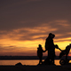 Free Download Young family silhouetted against an ocean sunset Nulled