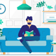 Young Man with Beard Reading Book Sitting on Couch - GraphicRiver Item for Sale